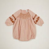 Apolina Kids Caren Smocked Romper - Carnation