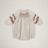 Apolina Kids Caren Smocked Romper - Alabaster
