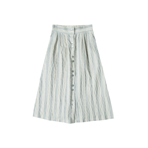 Rylee and Cru Button Front Midi Skirt - Stripe
