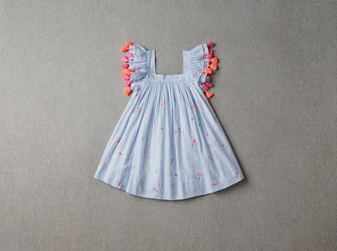 Nellystella Chloe Dress - Ditzy Ocean Stripe