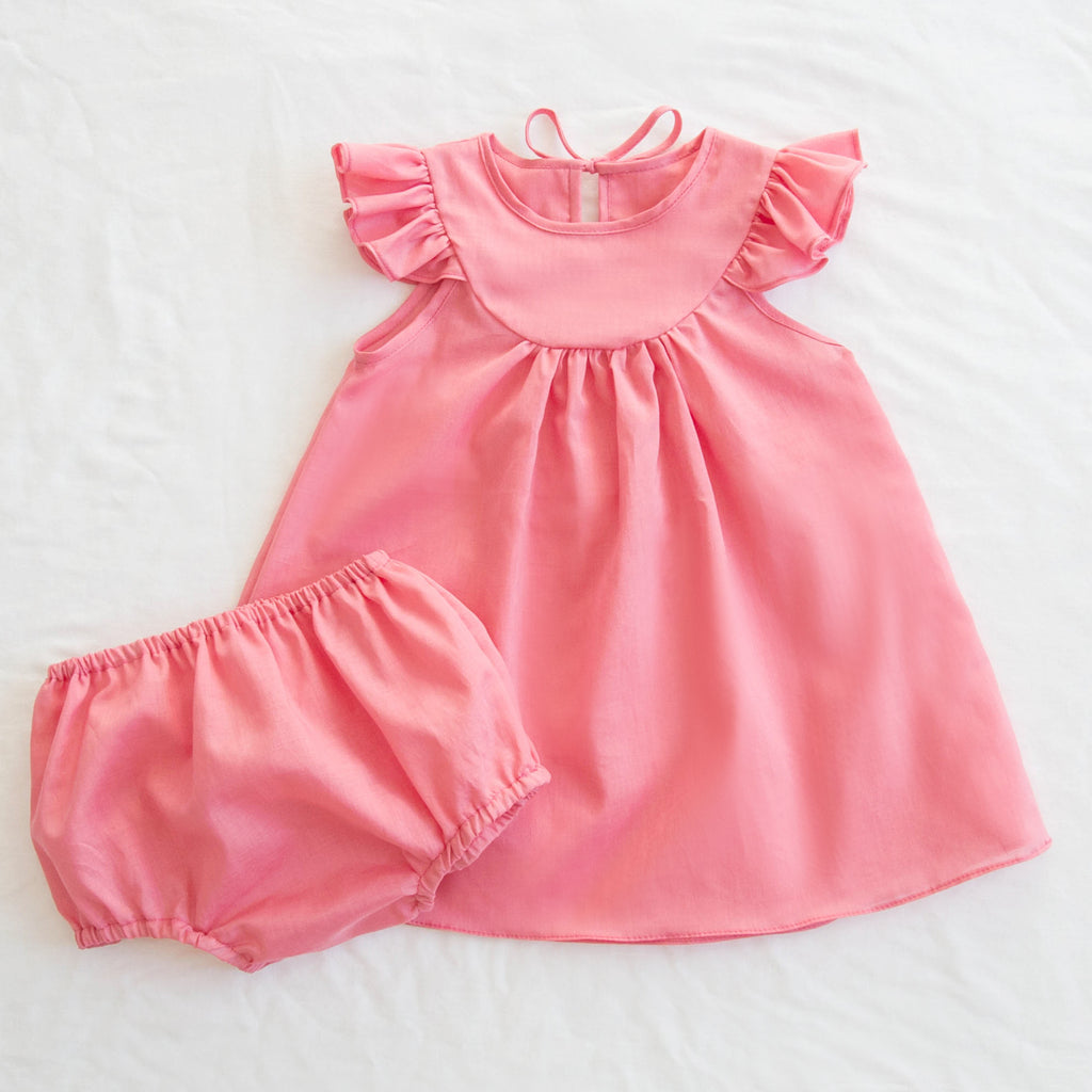 Fondly Lisa Dress + Bloomer Set - Coral Pink