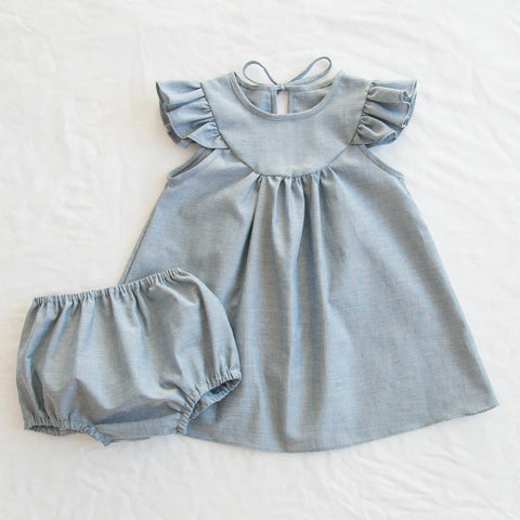Fondly Lisa Dress + Bloomer Set - Chambray