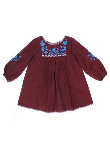 Apolina Kids Francoise Dress - Garnet/ Swedish Blue/ Alabaster