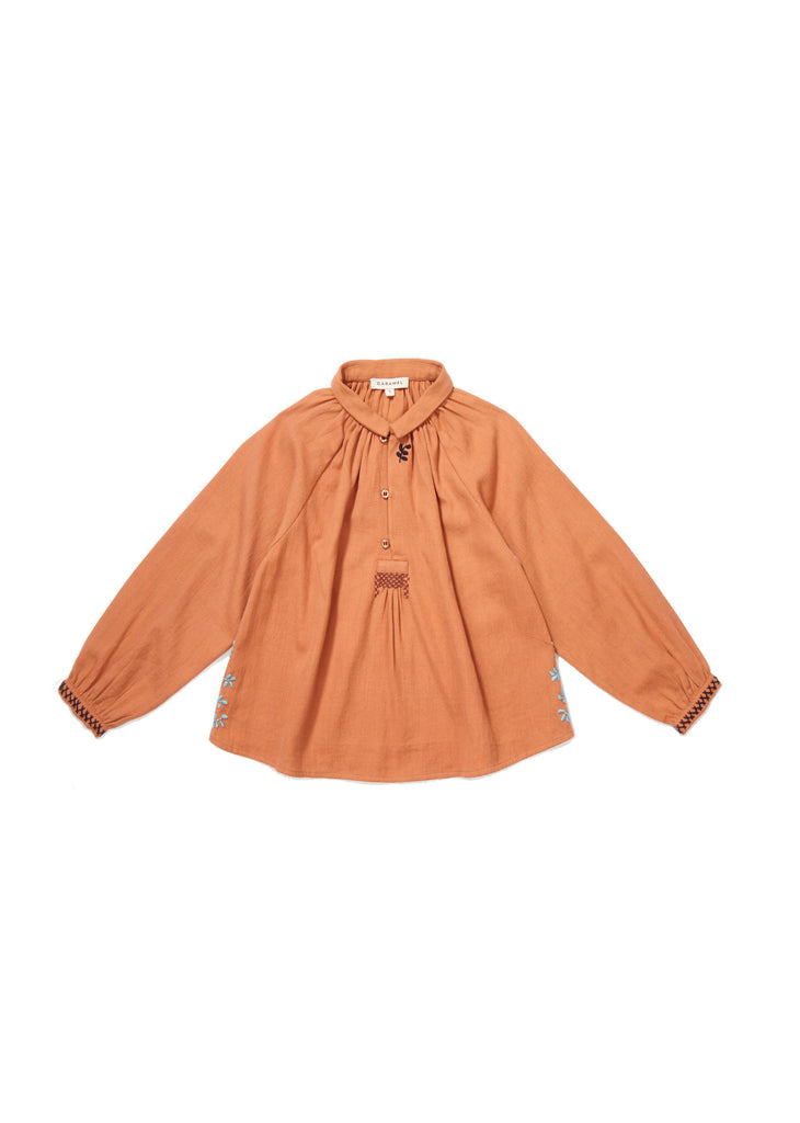 CARAMEL Haddon Embroidered Blouse - Persimmon