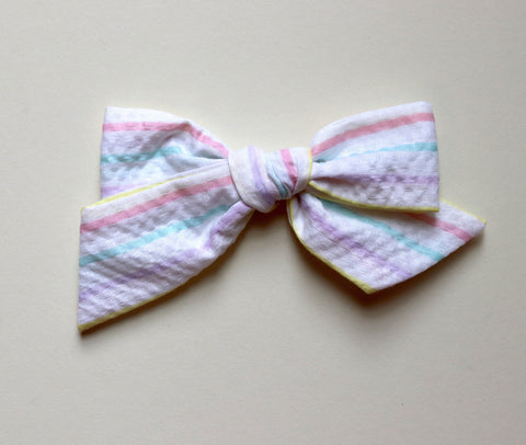Maisie Loves Nory Pastel Stripe Bow - Large Size
