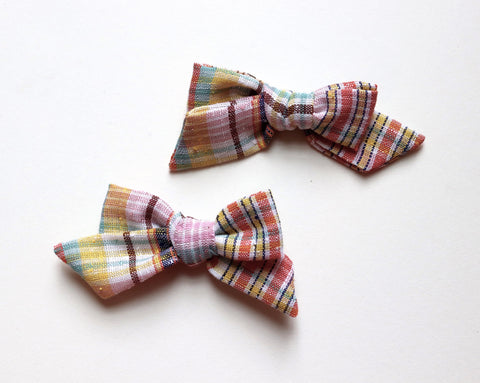 Maisie Loves Nory Plaid Linen Bow - Pigtail Set