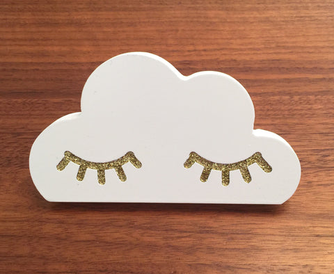Pixistuff Cloud with Gold Eyelash Wall Hook