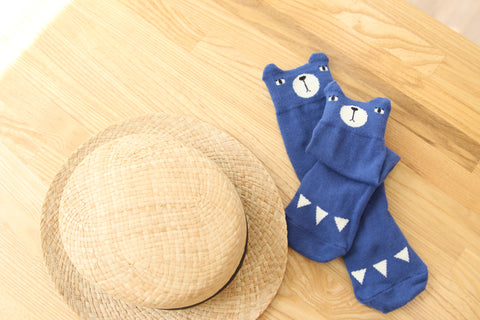 Mini Dressing Bear Socks - Blue