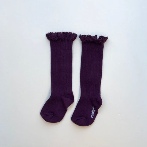 Collegien Ruffle Knee Socks - Aubergine