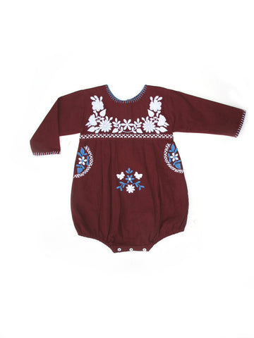 Apolina Kids Jane Long Sleeved Baby Romper - Garnet/ Swedish Blue/ Alabaster