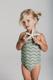 Rylee and Cru Ruffle Onepiece Swimsuit - Rolling Waves
