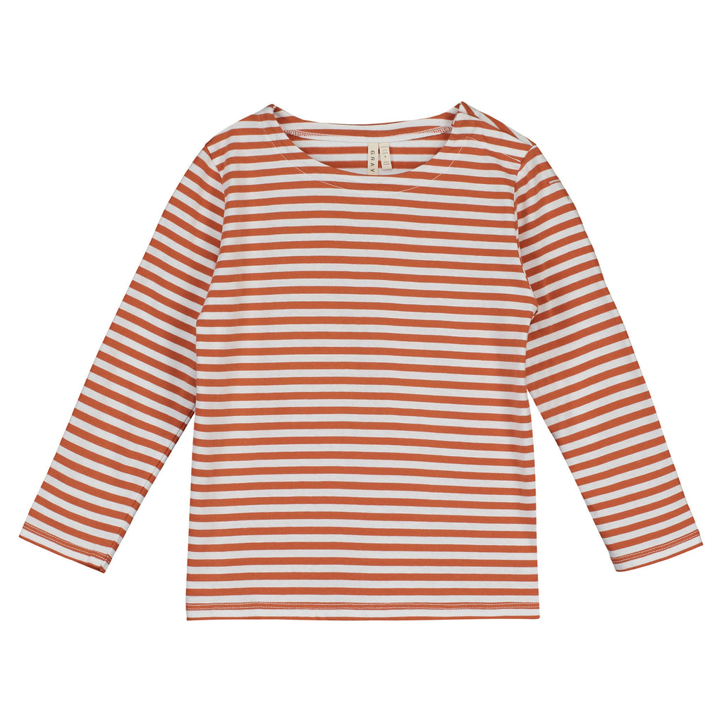 Gray Label Striped Long Sleeve Tee - Red Earth/ Off White