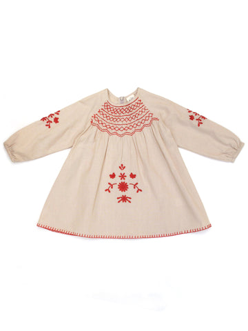 Apolina Kids Maren Smock Dress - Stone/ Scarlet