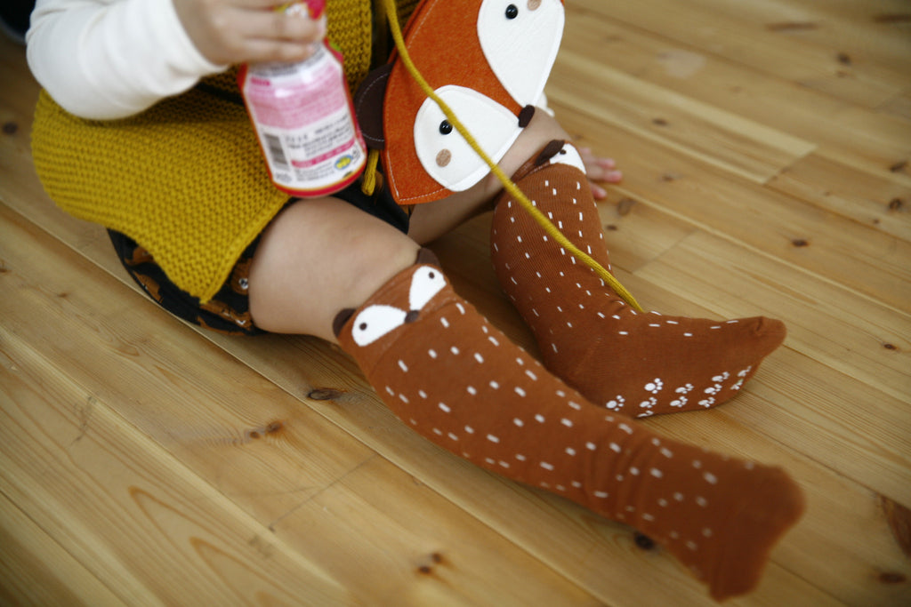 Mini Dressing Raccoon Socks - Brown