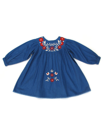 Apolina Kids Muriel Baby Dress - Icelandic Blue/ Scarlet/ Alabaster