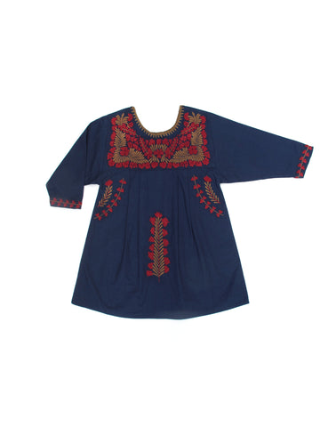 Apolina Kids Pattie Dress - Navy/ Tawny Brown/ Scarlet