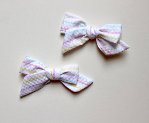 Maisie Loves Nory Pastel Stripe Bow - Pigtail Set