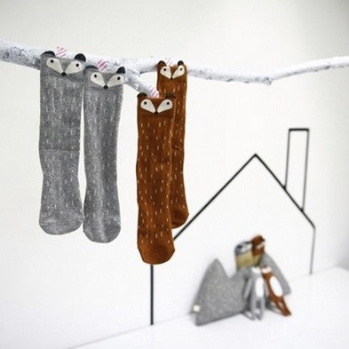Mini Dressing Raccoon Socks - Grey