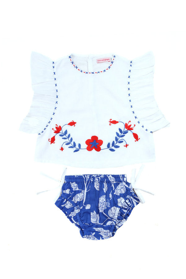 Coco and Ginger Delphine Set - White with Hand Stitch