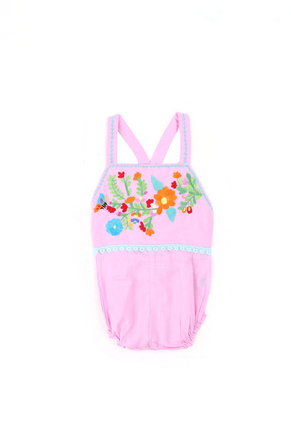 Coco and Ginger Hibiscus Romper - Rose with Hand Stitch