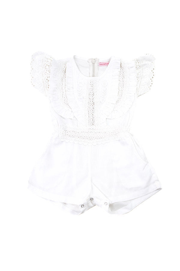 Coco and Ginger Isabel Sunsuit - White Broiderie