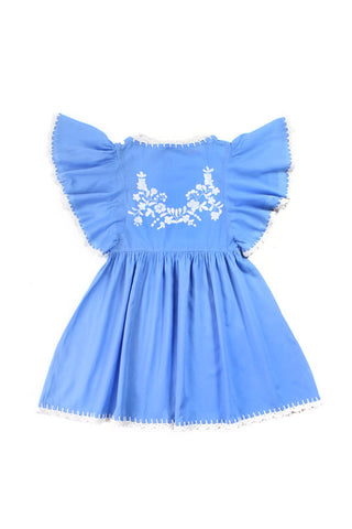Coco and Ginger Joni Dress - Periwinkle with Cream