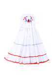 Coco and Ginger Rose Dress - White with Blue and Red Hand Stitch