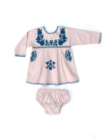 Apolina Kids Tina Long Sleeved Baby Tunic Set (with plain bloomer) - Quartz-Pink/ Petrol