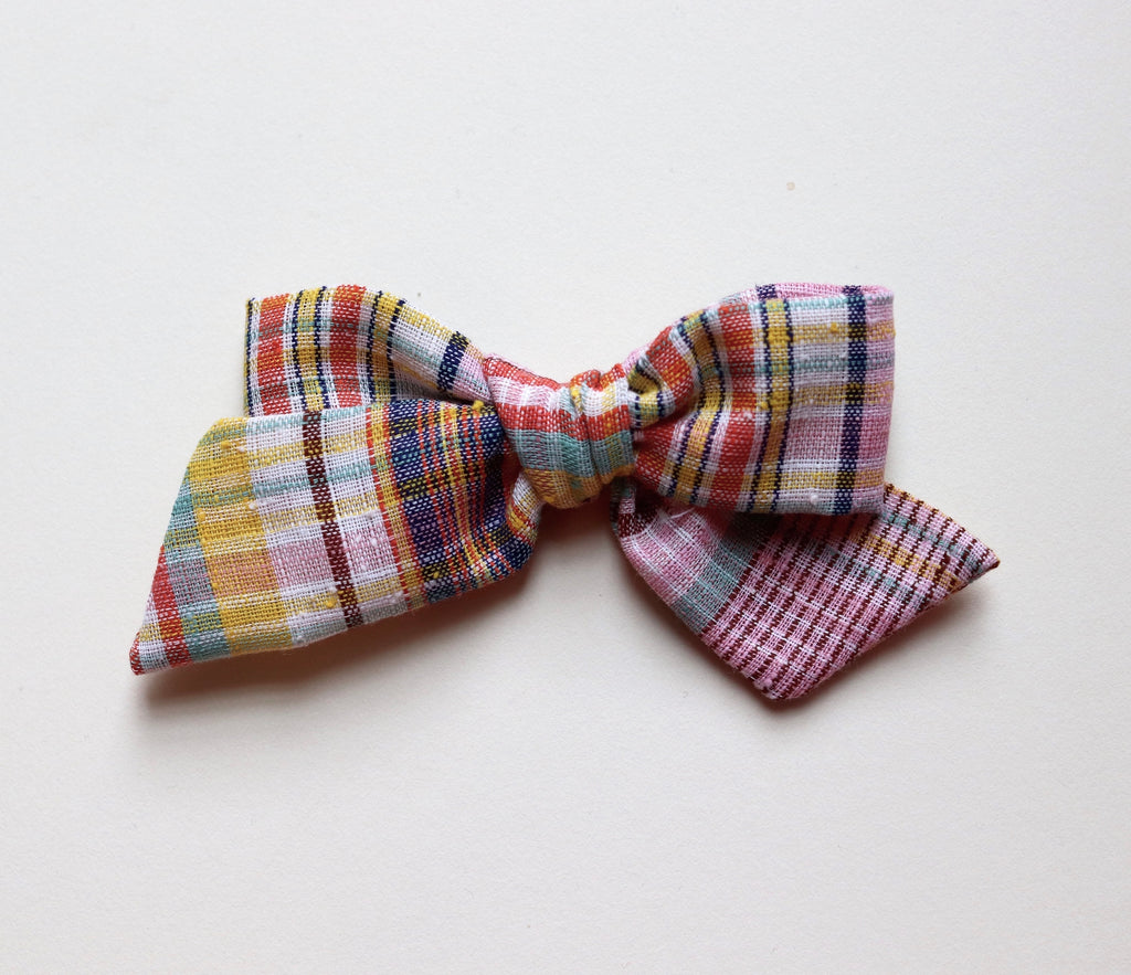 Maisie Loves Nory Plaid Linen Bow - Large Size