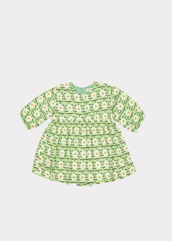 CARAMEL Belvoir Baby Dress - Green Daisy Print