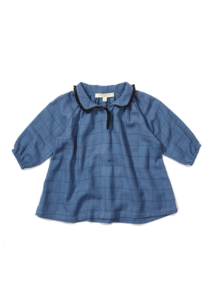CARAMEL Verdite Baby Dress - Blue Stabstitch Check