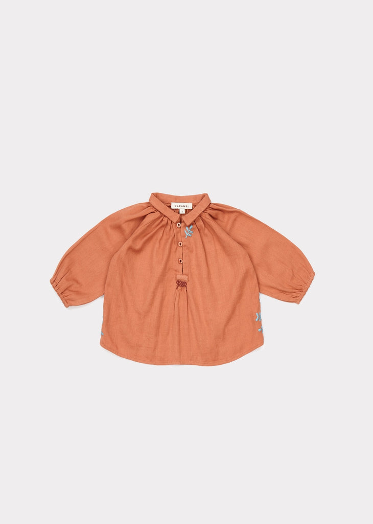 CARAMEL Haddon Embroidered Baby Blouse - Persimmon