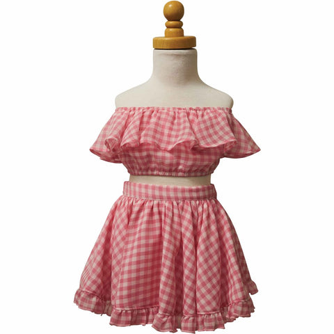 PAUSH Flouncy Crop Top - Pink Gingham
