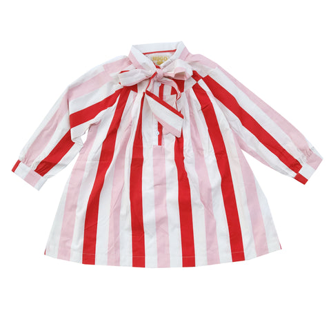 Hugo Loves Tiki Bow Dress - Pink Red Stripe