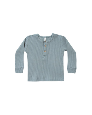 Rylee and Cru Ribbed Henley - Dusty Blue