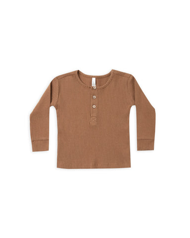 Rylee and Cru Ribbed Henley - Caramel