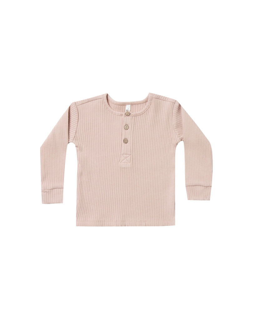 Rylee and Cru Ribbed Henley - Rose
