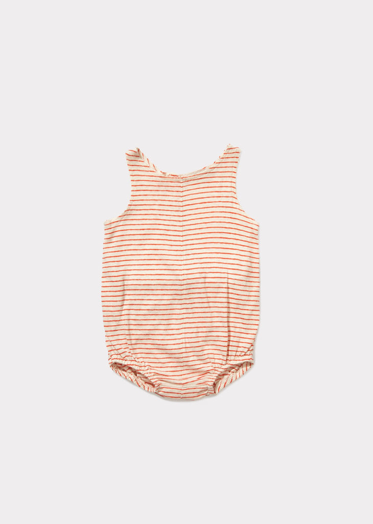 CARAMEL Sprout Baby Romper - Bright Orange Stripe