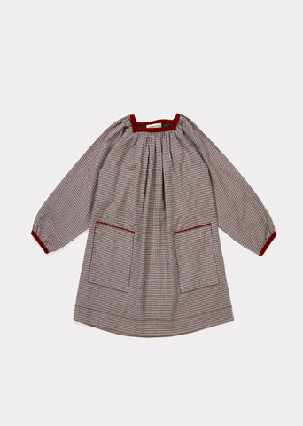CARAMEL Turton Dress - Grey Micro Check