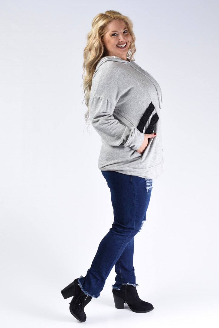 Grey Textured Detail Hoodie - www.mycurvystore.com - Curvy Boutique - Plus Size