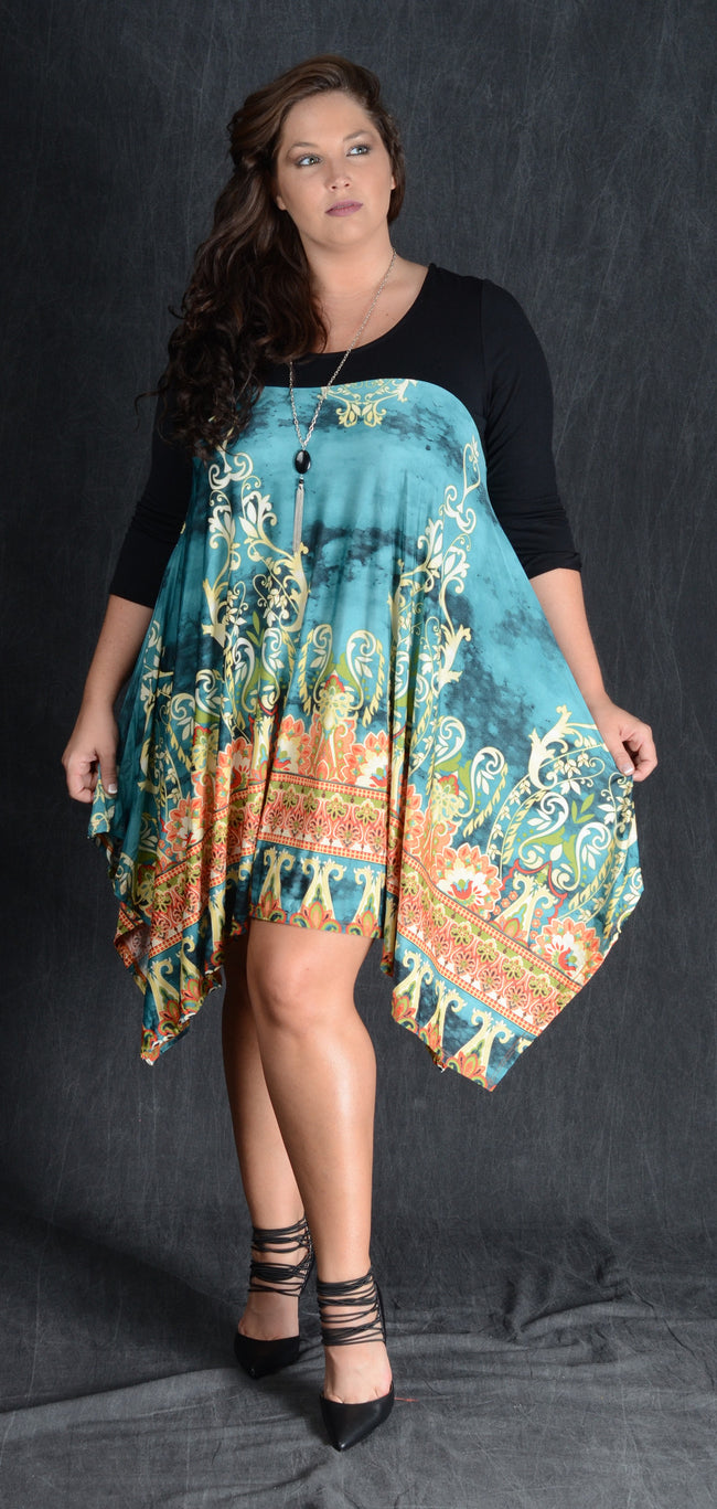 Teal Damask Contrast Dress - www.mycurvystore.com - Curvy Boutique - Plus Size