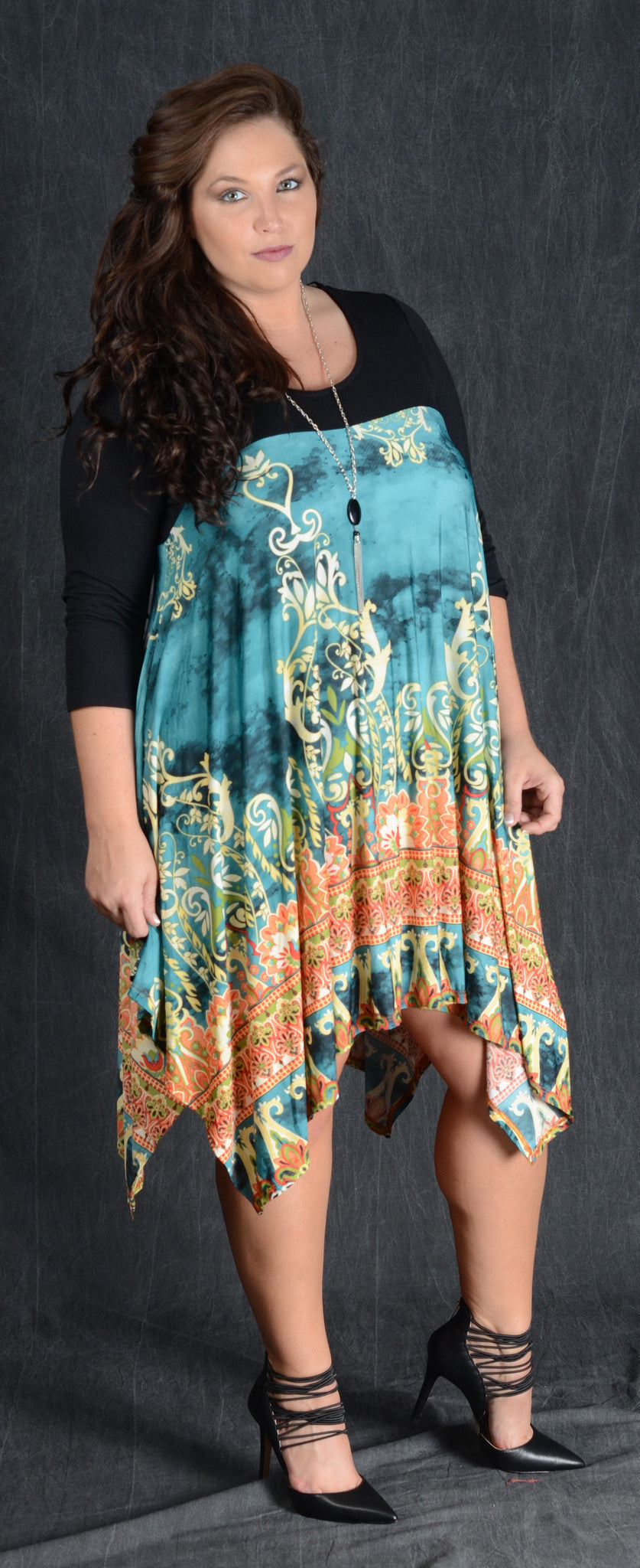 Teal Damask Contrast Dress - Curvy Plus Size Boutique - 2