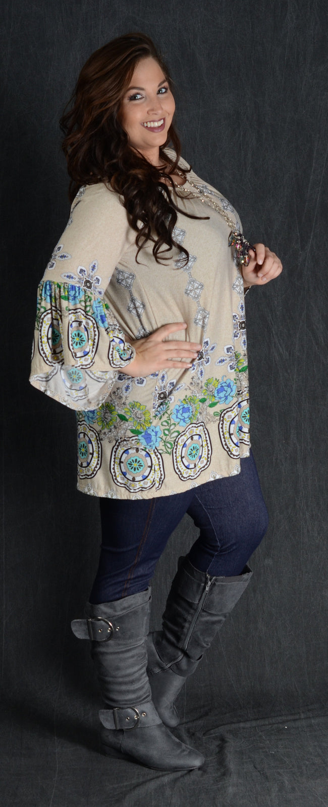 Beige Border Print Tunic - Curvy Plus Size Boutique - 1
