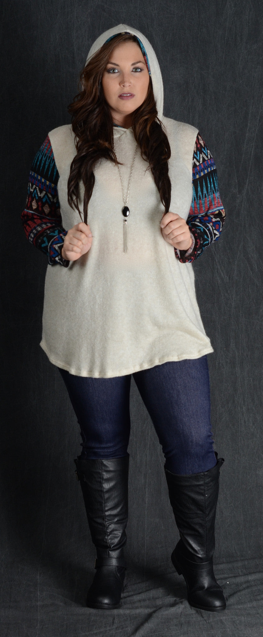Ivory Contrast Sleeve Hooded Top - Curvy Plus Size Boutique - 2