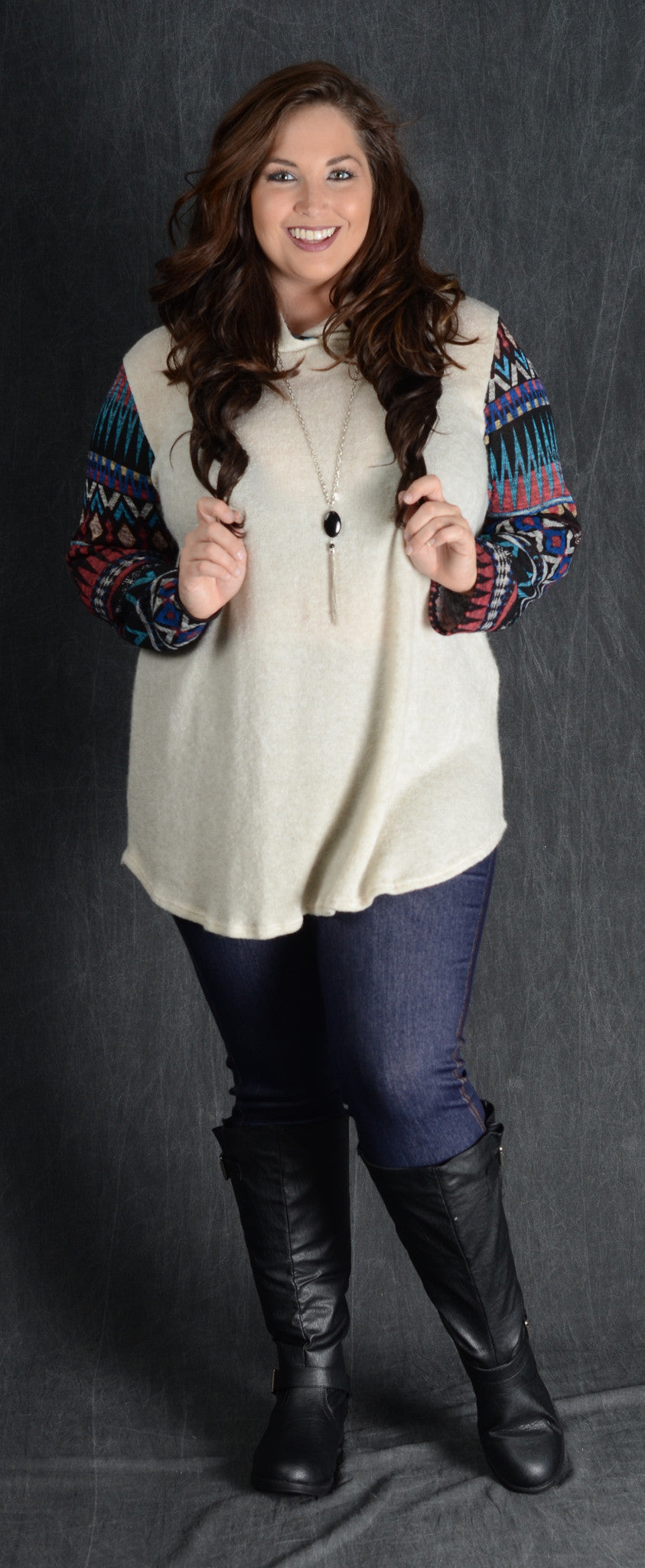 Ivory Contrast Sleeve Hooded Top - www.mycurvystore.com - Curvy Boutique