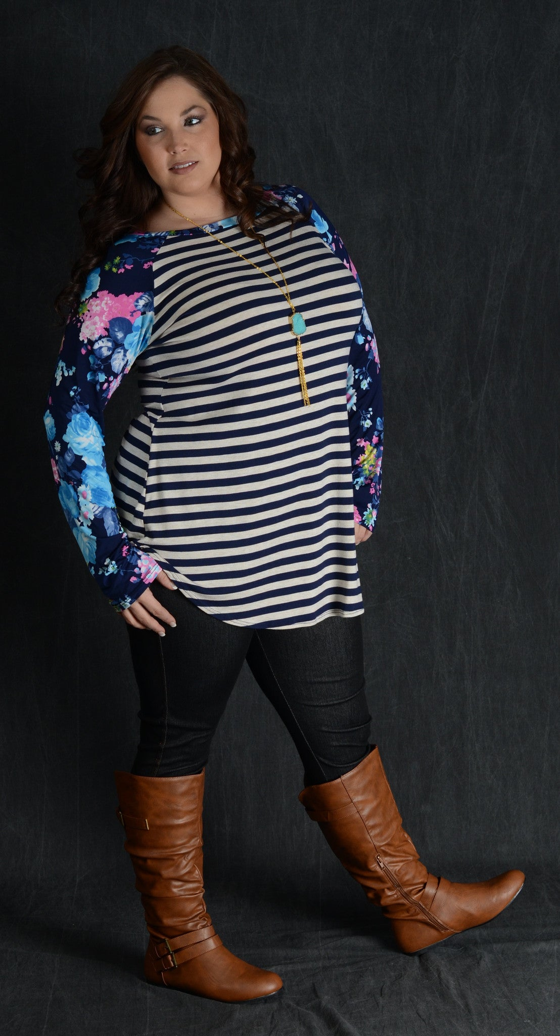 Teal Floral Sleeve Top - www.mycurvystore.com - Curvy Boutique - Plus Size