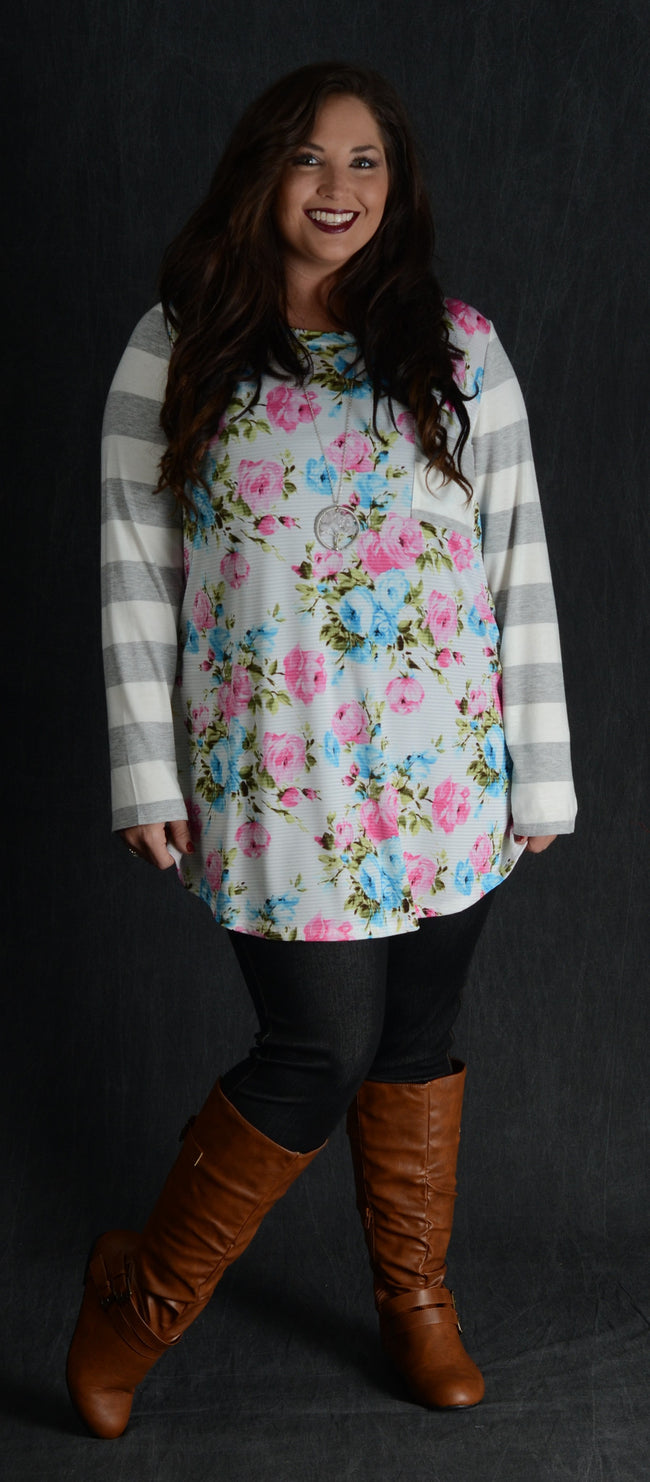 Floral & Grey Stripe Top - www.mycurvystore.com - Curvy Boutique - Plus Size