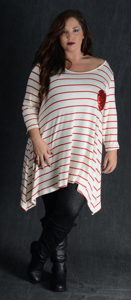 Striped Ivory Heart Patch Top - Curvy Plus Size Boutique - 1