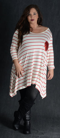 Striped Ivory Heart Patch Top