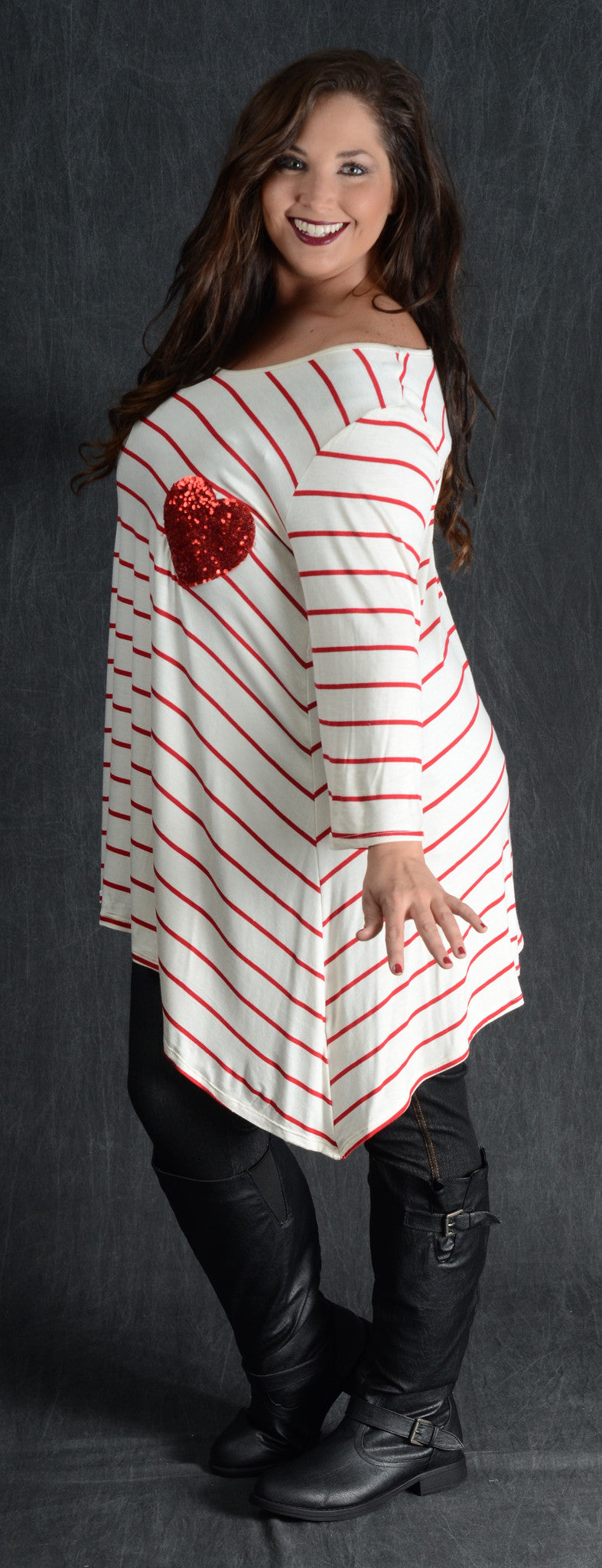 Striped Ivory Heart Patch Top - Curvy Plus Size Boutique - 2